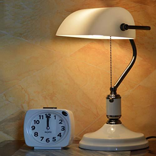 LFEWOZ Lámpara de mesa con interruptor de cordón LED E27, para salón, oficina, niños, estudiantes, mesa auxiliar, lámpara de lectura, lámpara de escritorio, luz verde