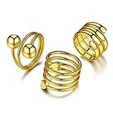 3 Anillos Espiral Oro de Nudillos Mujer Argollas Anillo de Corzón Bola para Chicas