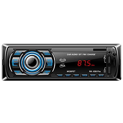 LSLYA Car Radio Bluetooth Stereo Car Radio, 4X60W, 1 DIN Bluetooth Car Radio, Micrófono Manos Libres Radio de Coche Integrado, 1 DIN Stereo System, Soporta FM USB / SD / AUX / MMC