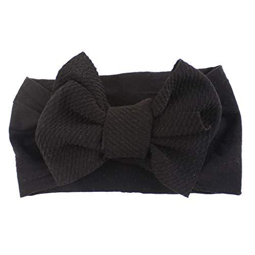 Fulltime_ Bébé Bandeau, Enfant Bowknot Bandeau en Nylon Stretch Chapeaux Solide Couleur Turban chapeaux (Noir)