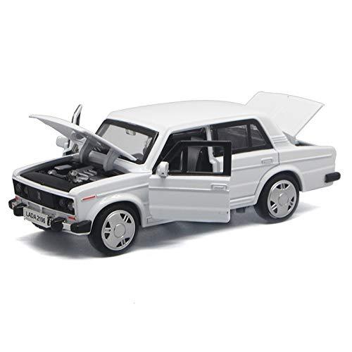 LANRUI Alloy Klassische Modellautos Spielzeug Gießt Druck Metallguss Pull Back Musik-Licht-Auto Spielzeug for Kinder Fahrzeug (Color : White)