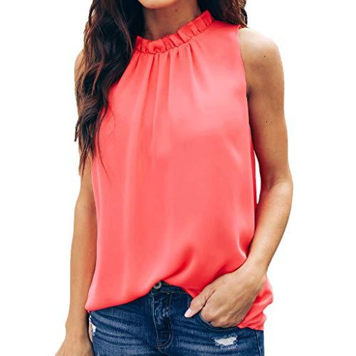 KPPONG Tank Tops Damen, Sommer Sexy Ruched Stehkragen Ärmellos Rückenfrei Shirt Mode Bluse Trägershirt Crop Top Camisole Oberteile