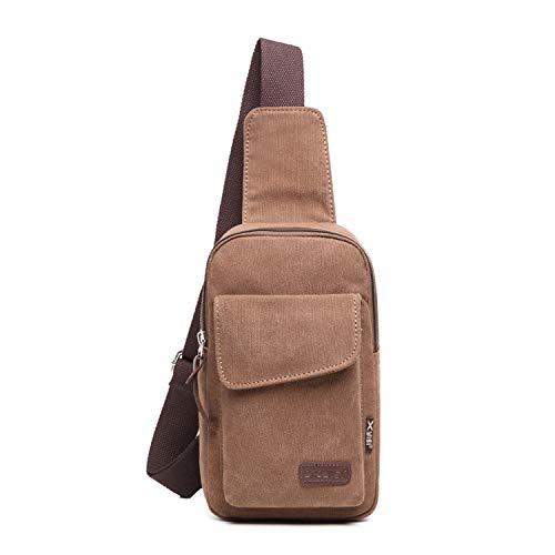 FANDARE Monospalla Uomo Zaino Monospalla Borsa di tela Borsello da Uomo Sling Bag Borsa a Tracolla Borsa Sportiva Viaggio, Campeggio, Hiking Marrone