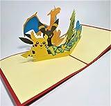 BC Worldwide Ltd handgemachte 3D-Pop-up-Karte Pokémon Taschenmonster Geburtstag Kind Kind Party Einladung Jubiläum Muttertag Vatertag Valentinstag - 9