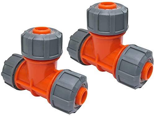 AERZETIX - Juego de 2 Conectores para Manguera de jardín en ''T'' 19mm de 3 vías - Racor rápido para Manguera de riego - acoplador de plástico - C48611
