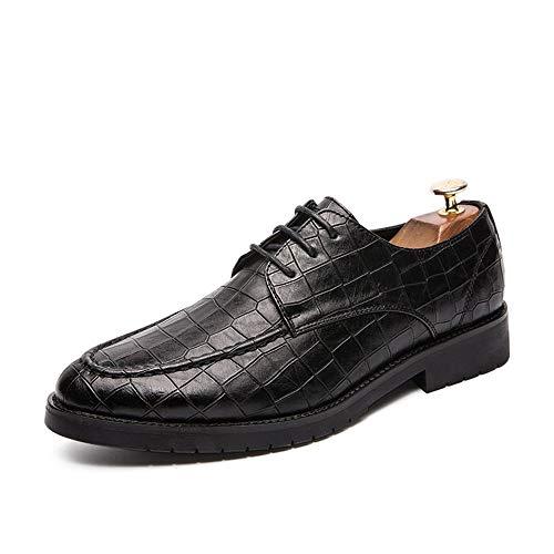 CAIFENG Oxfords DE Negocios for Hombre Toe Redondo Casual COCUAL CLÁSICO CLÁSICO Patrón de la Rejilla de la Rejilla de Goma Formal Lace Up Zapatos de Vestir PU Cuero Superior Resistente al Desgaste