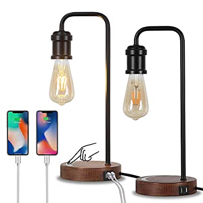 Set of 2 Touch Control Industrial Desk Lamp with USB Port, Dimmable Bedside Lamp with Faux Wood Base Nightstand Table Lamp Office Work Lamp for Living Room, Bedroom, College Dorm 3 Way Bulb Included