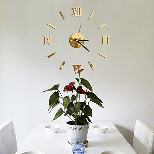 Topyuan 3D DIY Mirror Surface Wall Clocks Modern Design Wall Watch Mirror Numbers for Home Office Decorations