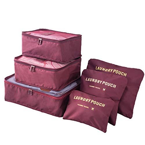 DoGeek Organizador de Equipaje 6 en 1 Set Viaje con Bolsa de Zapato, Impermeable Organizador de Maleta Bolsa para Ropa Sucia de Viaje, Material Nylon (Vino Tinto)