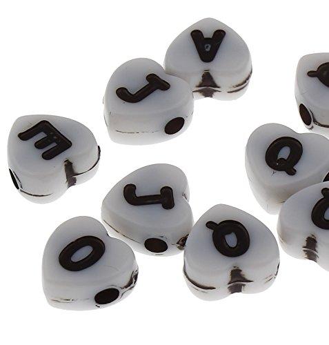 150 cuentas con forma de corazón y letras de plástico de 7 mm, color blanco, para pulseras, collares, llaveros y joyas infantiles para manualidades D103