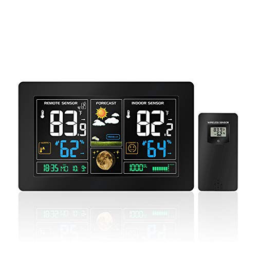 WANGOFUN Funk-Wetterstation, Color Forecast Station, Digital-Innen Außen-Thermometer mit Fernfühler, Farb-Display, Feuchtigkeitsüberwachung, Temperatur-Warnungen