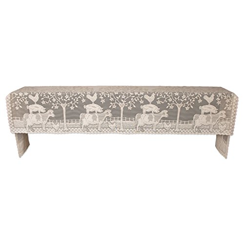 """Heritage Lace Farmhouse 20"""" X 96"""" Natural Mantle Scarf, Beige"""