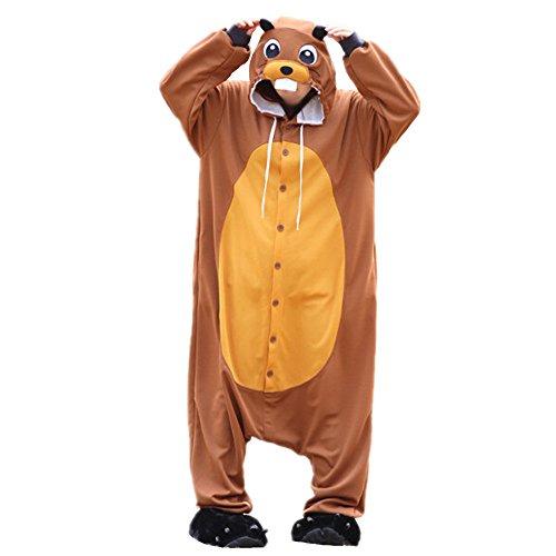 WOTOGOLD Animal Cosplay Costume Beaver Mens Womens Pajamas ,X-Large,Brown Beaver