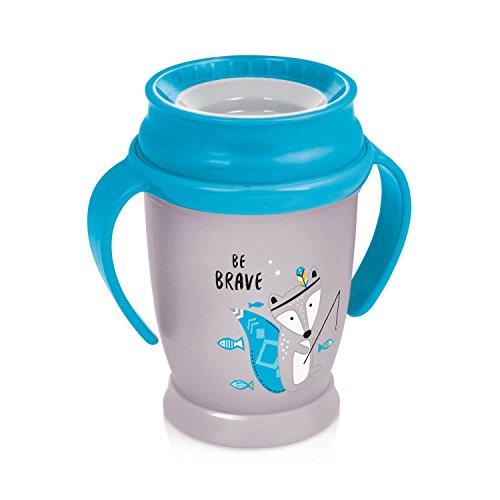 LOVI 360 Grados Vaso de Entrenamiento Antiderrames | 12+ | 250 ml | Sin BPA | SteriTouch Protección Antibacteriana | Innovador Sistema de Sellado | Fácil de Limpiar | Indian Summer Junior | Azul