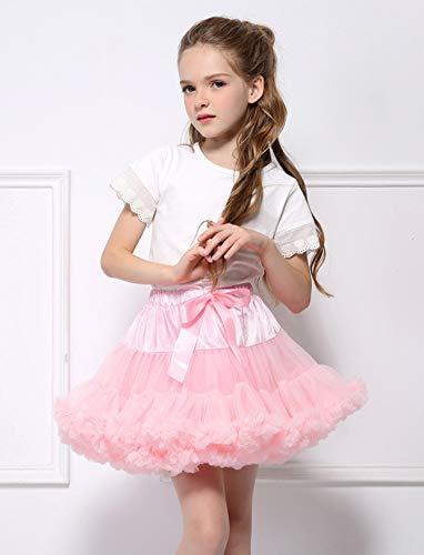 Adorel Falda Tutú Tul de Enagua Plisada Ballet para Niñas Rosa 2-4 Años (Tamaño del Fabricante S)
