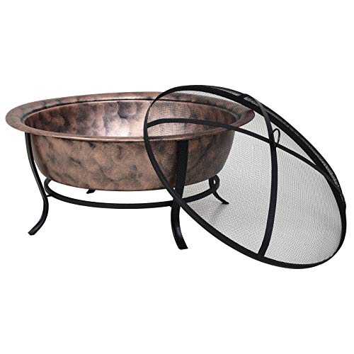 Read About Copper Fire Pit Basin Outdoor Camping Round Firepit Bowl Black Protector Mesh Cover Porta...