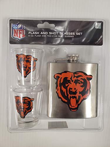 Pro Specialties Groep NFL Shot Bril en Geborsteld RVS Flask Set