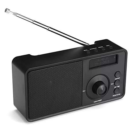 Haut-parleurs portables pour stéréo et Bas haute fidélité FM AUX Portable DAB + LCD haut-parleur stéréo sans fil Bluetooth Radio Affichage numérique Casque extérieur Soutien réveil, un son puissant