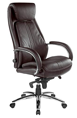 Kijng Chefsessel Throne - Braun Echtleder - Ergonomischer Bürostuhl Schreibtischstuhl Drehstuhl Sessel Stuhl