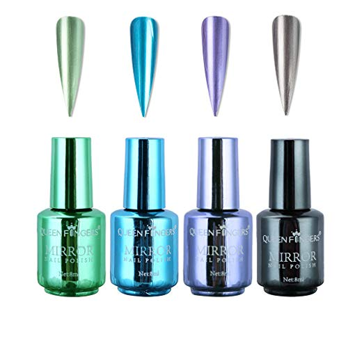 4 Flaschen Metallic Nagellack Spiegeleffekt Lack bunter glänzendes Metall Nagellack Maniküre Lack (4 Farben, 8ML) (C)