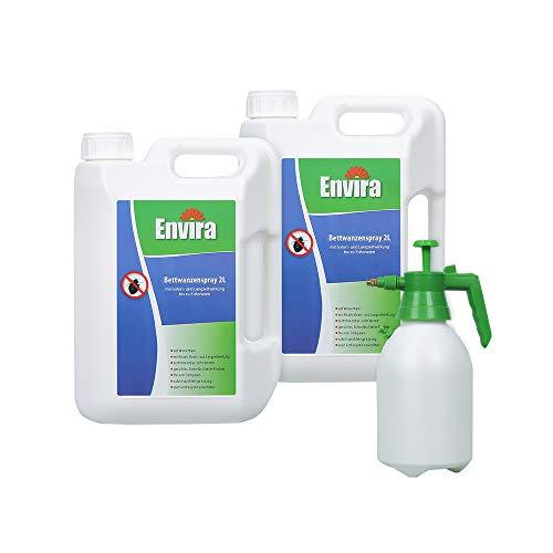 Envira Bettwanzen-Spray - Anti-Bettwanzen-Mittel Mit Langzeitwirkung - Geruchlos & Auf Wasserbasis - 2x2Ltr+Drucksprüher