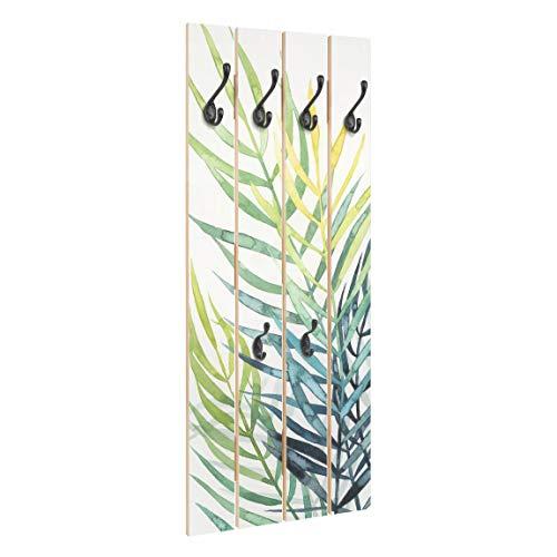 Bilderwelten Perchero de Madera Tropical Foliage - Palm Tree - Ganchos Negros 100x40 cm