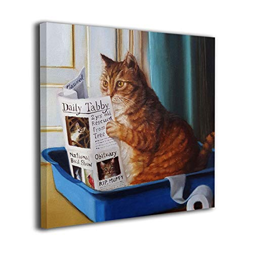 HIBIPPO Cat Toilet Reading Newspaper Paper Canvas Wall Art Prints Artwork Pictures Wall Decorations for Living Room Kitchen 20'x20' Ready to Hang