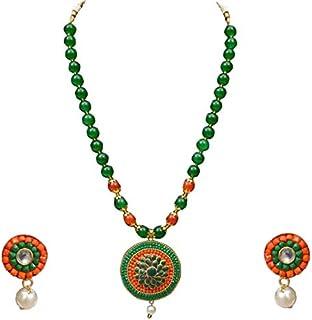 Sansar India Beaded Pendant Necklace Earrings Set 1329A