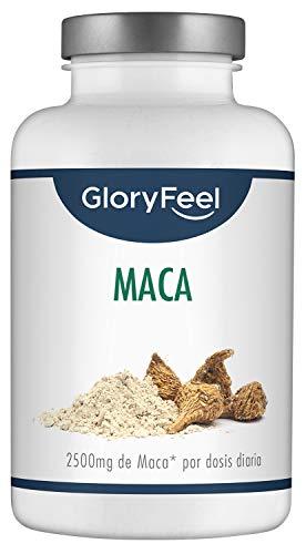 GloryFeel® Maca Andina Cápsulas - 25.000 mg Extracto de Maca por cada dosis de 2500mg de Maca + Vitamina B1-200 cápsulas veganas de Maca altamente concentrada 10:1 - Aumenta energía y vitalidad