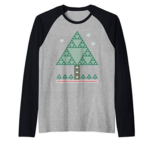 Math Fractal Christmas Tree Sierpinski Triangle Raglan Baseball Tee