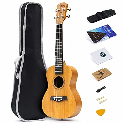 mahogany ukuleles 21 Inch Soprano Ukulele with Solid Mahogany Top, package Including Gig Bag, Strap, Spare Nylon Strings, Capo, Picks