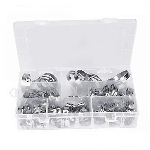 Engranaje de gusano abrazaderas de manguera Surtido Kit de acero inoxidable de plata ajustable 8-38mm rango 60PCS