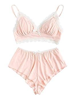 SweatyRocks Women s Lace Trim Underwear Lingerie Straps Bralette and Panty Set Lace Pink Medium