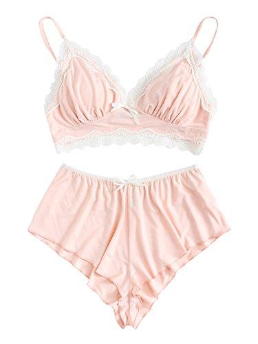 SweatyRocks Women's Lace Trim Underwear Lingerie Straps Bralette and Panty Set Pink M