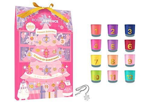 Royal Essence Adventskalender 2020 für Damen, 12 Mini-Kerzen mit Schmucküberraschung, rosa Weihnachten