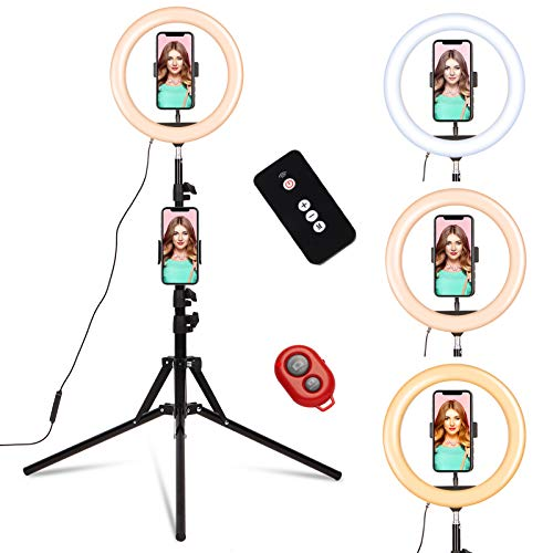 """10"""" LED Ring Light with Stand and Phone Holder Tripod Stand 2 Remote for Makeup/Computer Video Kit Video Maker Selfie/YouTube/TikTok/Zoom, Big Circle RingLight Portable Compatible with iPhone/Samsung -  Tricle, RL-0808"""