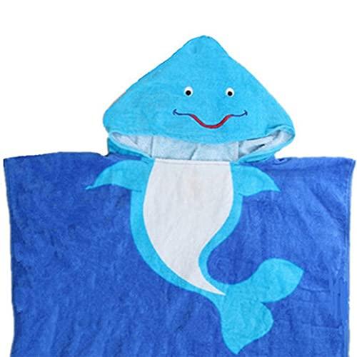 Albornoz con capucha para niños de 2 a 6 años de edad, 100% algodón, súper suave, adecuado para niños de 90 a 120 cm de altura (delfines)