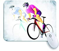 ECOMAOMI 可愛いマウスパッド サイクリングスポーツサイクリスト赤ベクトル 滑り止めゴムバッキングマウスパッドノートブックコンピュータマウスマット