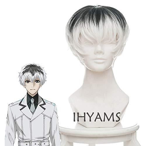 Anime Tokyo Ghoul Re Kaneki Ken Sasaki Haise Black White Mix Short Synthetic Hair Cosplay Costume Wigs + Wig Cap