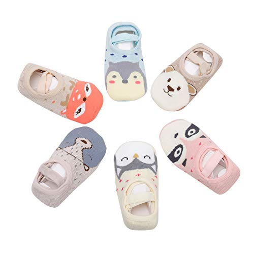 Estwell 6 Pares Calcetines Antideslizantes para Bebés Niño Niña Pequeños Invierno Algodón Cálido Lindo Animal Calcetines
