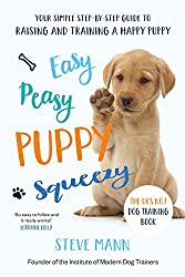 Book with Brown Labrador Retriever Puppy on called Easy Peasy Puppy Squeezy. Your Simple Step by Step Guide to Raising and Training a Happy Puppy by Steve Mann