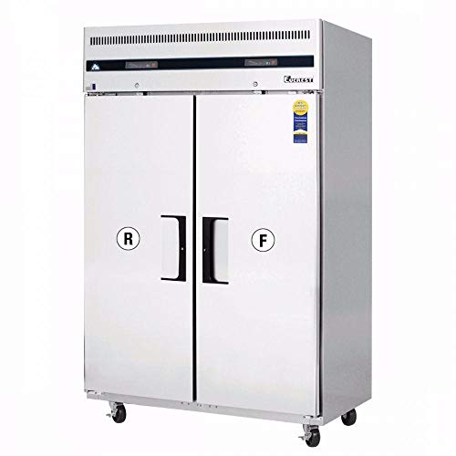 Everest ESRF2A Two Section Solid Door Upright Reach-In Dual Temp Refrigerator/Freezer Combo