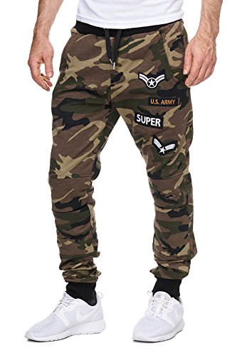 Cabin Herren Trainingshose Armee Army Camouflage Jogginghose Damen Sporthose Fitness Camouflage S
