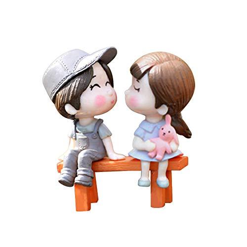 Steellwingsf 3 pcs/lot Les Amoureux de Chaise de Jardin Paysage DIY Miniature Ornement Dollhouse Décor extérieur, PVC, Blue + Pink, Taille Unique