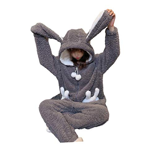 WALNUT Invierno espesando Pijamas Mujeres cálida Felpa Kawaii Animal Conejo Halloween Cosplay Conejito Homewear Ropa de Dormir Traje de Mono