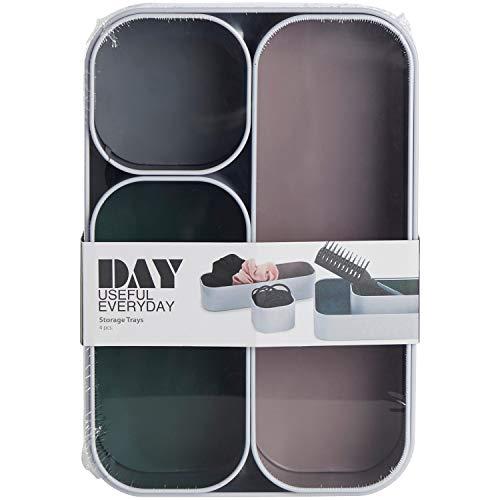 trand Aufbewahrungsbox aus Metall | Set 4 Stück | Bunte Dosen in skandinavischem Design | Badezimmer Organizer