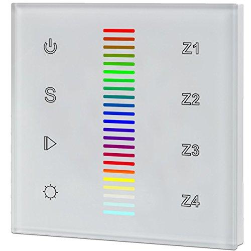 iluminize Touch Wand-Dimmer Funk: für RGB LEDs, 4 Zonen, 230V Anschluss, Schalterdosen-Installation, KEIN Universal-Gerät: Funk Controller ist erforderlich (für RGB LEDs)