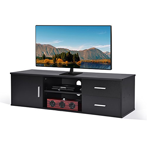 ADD ONE +1 Wooden Single-door TV Stand TV Unit Storage Console with two Drawer,Black