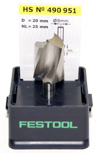 Festool 490951 HS Spiralnutfräser HS-Stahl Spi S8 D20/25
