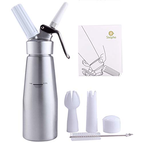 Whipped Cream Dispenser by Sivaphe Professional Aluminum Cream Whipper Fancy Desserts Maker Gourmet Whip Culinary 500ML/1 Pint- Compatible 7.5g-8g N2O Cream Chargers (Not Included)